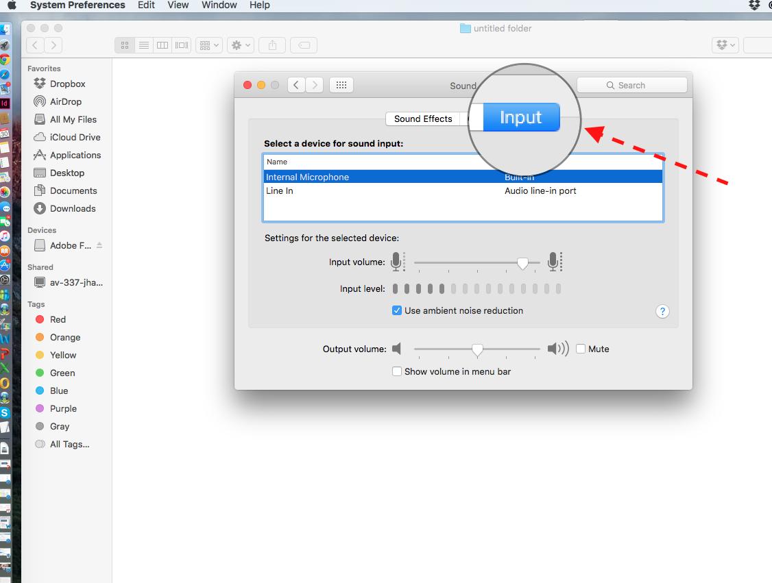 macOS Sounds Input Tab